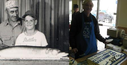 (Left): A 10 year old Charlie with father Bill. (Right): A much older than 10 Charlie, celebrating the Bagshaw Electric 65th anniversary.